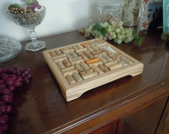 Wine cork trivet with 9 x 9 inch inside layer