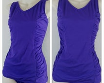 Mid-century Pin-up Style One-piece Purple Modest Swimsuit