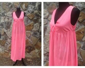 60s Coral Nightgown V-Neck Maxi Nightie Sleep Dress Sheer Slip Lingerie Sz M