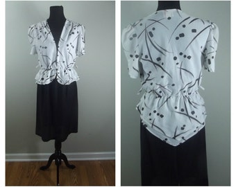CLEARANCE 80s Peplum Dress Black and White Abstract Paint Strokes Graphic Print Size M-L