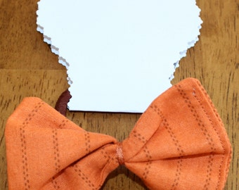 Orange striped Fabric Hair Bow Ponytail Holder  for girls,toddlers,tweens,teens,adults