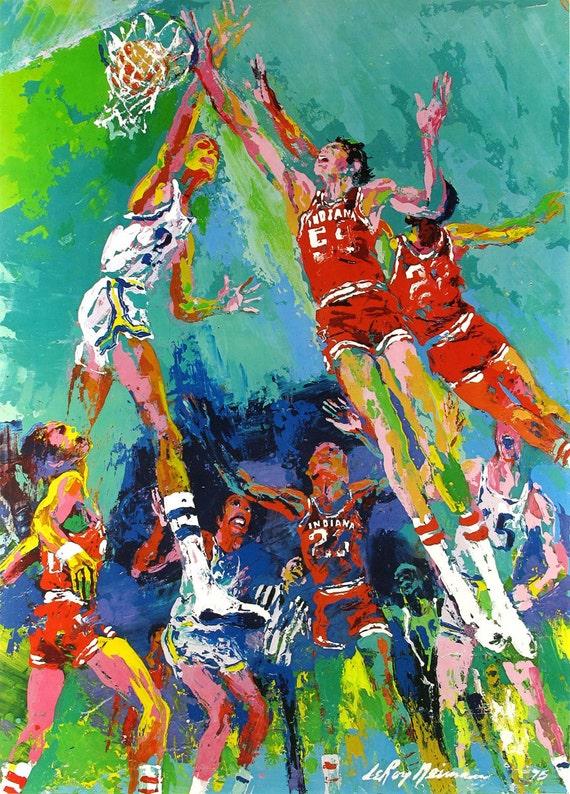 Basketball Oil Painting Leroy Neiman Basketball Oil