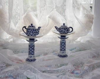 Pair of Blue and White Miniature Teapot Centerpieces, Wonderland Mad Hatter Tea Party Decorations
