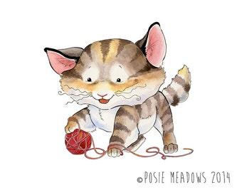 Original Art - Mew the Kitten -  Cat Kitten Watercolor, Children's illustration, Nursery art