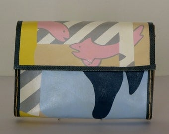1980's Hand Painted Purse  Memphis Group Style Leather Envelope Handbag with Long Strap by Mille Fiori