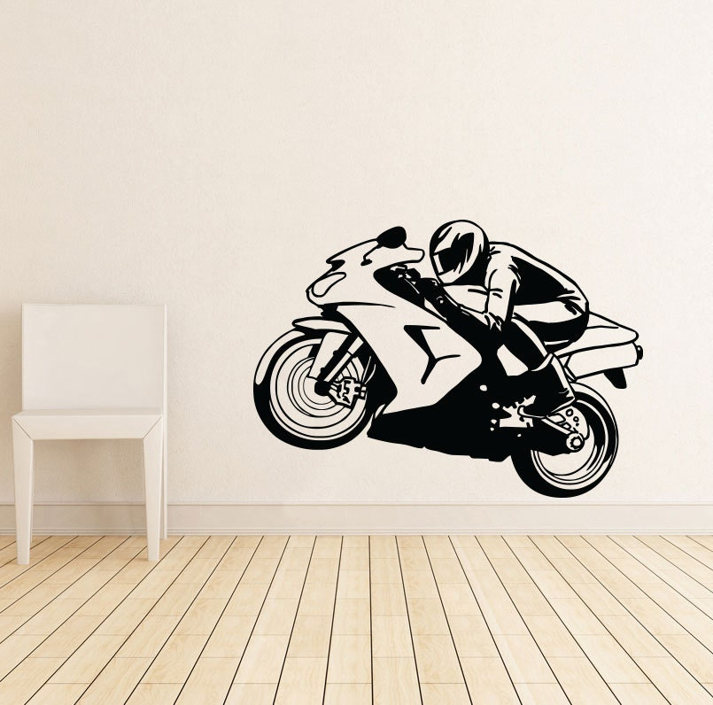 motorcycle gifts motorcycle wall art decal decor vinyl sticker. Black Bedroom Furniture Sets. Home Design Ideas