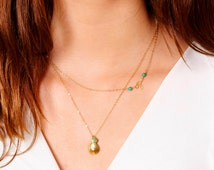 Layered Gold Necklace Set ~ Gold Teardrop with CZ and Chrysophrase ~ Tiny Branch Necklace with Turquoise ~ Off Center Turquoise Necklace