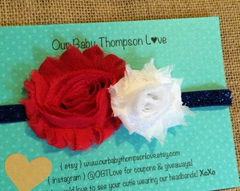 Memorial Day Headband, Fourth of July Headband, 4th of July headband, patriotic flower headband, red white and blue, Red chevron