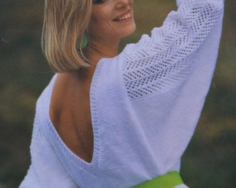 Womens v back sweater vintage knitting pattern v-back INSTANT download pattern only pdf 1980s