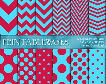 Red and Blue Digital Scrapbook Paper Pack - Chevron Polka Dots Red Blue Printable 12x12 Scrapbooking Backgrounds