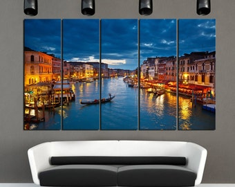 VENICE NIGHT Ready to hang set of 5 wall art print mounted on fiberboards/better than stretched canvas arts/Huge Size