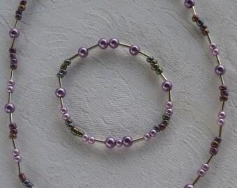 Purple and Crystal Beaded Necklace & Bracelet Set