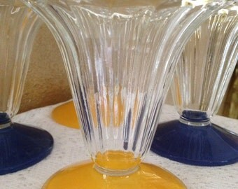 French Sundae /Parfait Glasses,France,1970,Ruffled Top,French Glass,Yellow,Blue,Vintage,Soda Fountain,Sorbet,Antique,Sherbet