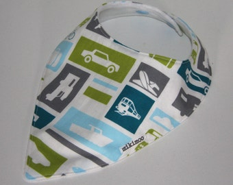 Transport Dribble Bandana Bib. Trendy bandana bib to complete outfit. Soft cotton bib with snaps or velcro. Car, plane, train, boat.