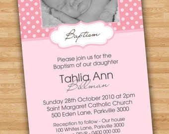 DIY Print Baby Girl Baptism/Christening/Naming Day Invitations/Invites