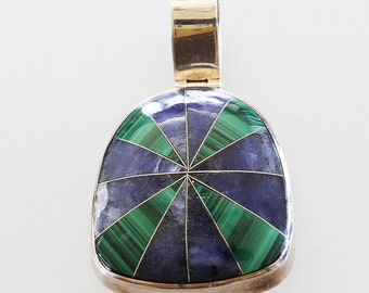 950 Sterling Silver Pendant Vintage Jewelry Genuine Blue Lapis and Green Malachite Vintage 950 Sterling Silver Pendant from Mexico
