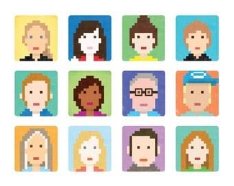 8-Bit Custom Portrait, Pixel Portrait, Personalized Portrait, Gifts under 50, Digital Portrait, Custom Avatar, Profile Picture