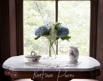 Photo Print, Blue and White Flowers in a Vase Photo, Floral Decoration, Home Decor, Nature Photo, Macro Photography, Art Photograph
