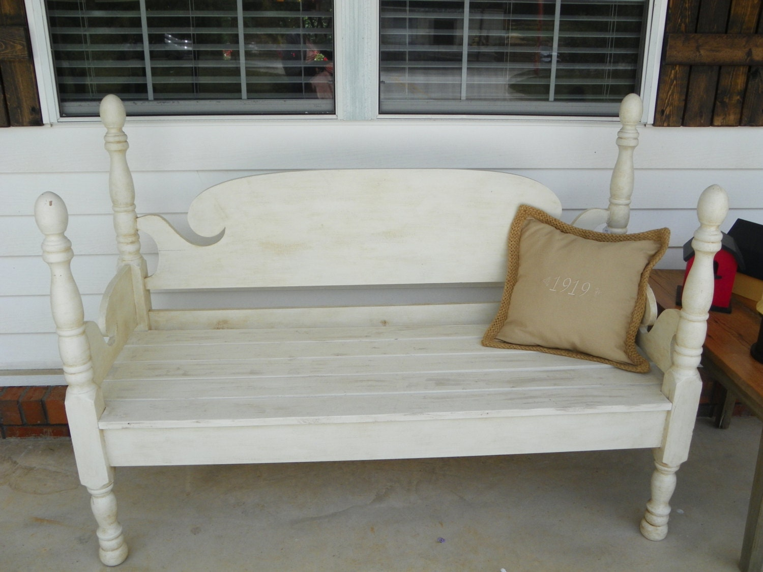 Great Bench Made From Antique Headboard Footboard