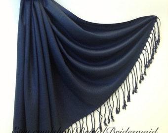 NAVY SCARF - navy blue shawl - bridal scarf - bridal shawl - bridesmaid gift - wedding gift - scarf - shawl - gift -