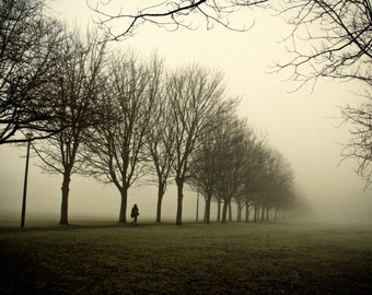 Three Months Later, original fine art photography, print, urban landscape, meadows, park, scotland, mist, city, man, walking, trees, fog