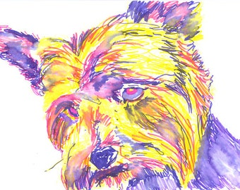 Yorkie Art Dog Yorkshire Terrier Painting Poster Print Signed Purple and yellow wall art