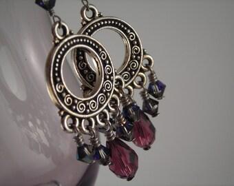 Heliotrope & Amethyst Swarovski Crsytal Chandelier Earrings