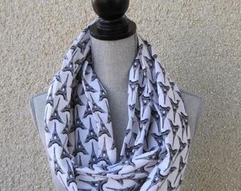 Infinity scarf, fabric scarf, tube scarf, eternity scarf, loop scarf, circle scarf, Paris, Eiffel tower, cotton scarf, white and black scarf