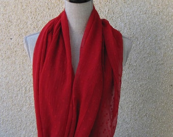 Fabric scarf, Infinity scarf, tube scarf, eternity scarf, loop scarf, long scarf in a filmy red fabric