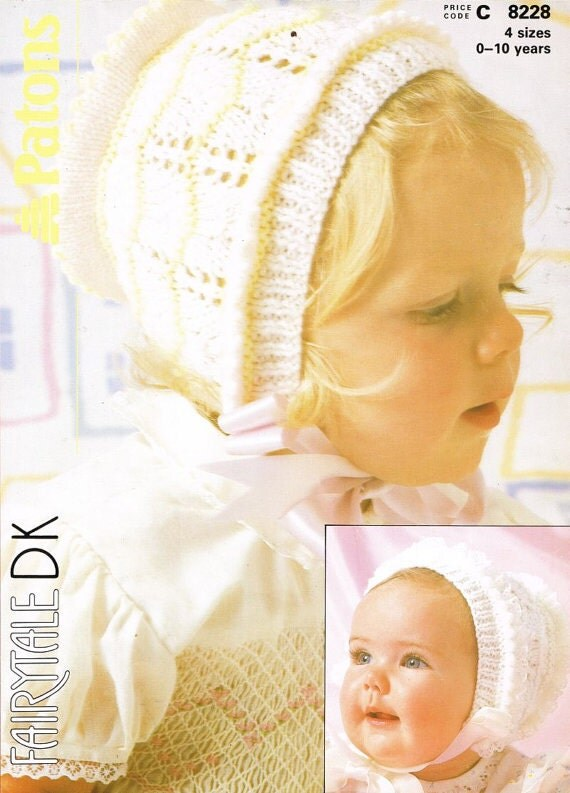 Baby Bonnet Knitting Pattern : Patons 8228 baby bonnet hat vintage knitting pattern PDF