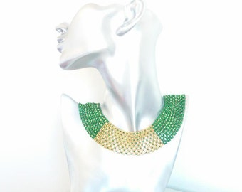 Cleopatra Style Green and Gold Seed Bead Necklace