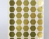 "Gold sticker, hexagon geometric sticker, silver paper label, letter envelope seal, self adhesive bag gift packaging 0.75"" planner sticker"