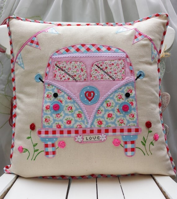 Cute Handmade Pillow Covers : Camper Van Pillow VW Cushion cover Bus cushion Cath Kidston