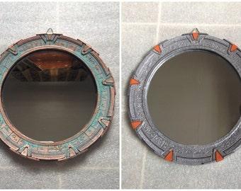 "Medium Stargate Mirror. SG1 Patina or Silver. 7-3/4"" (19.7cm)"