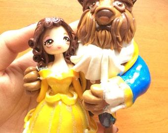 Doll figurine statue decoration fimo La Belle et la bête beauty and beast