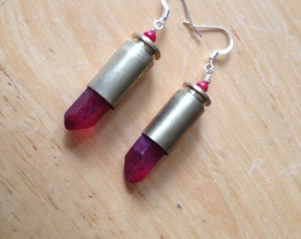 Bullet casing with red quartz points earrings