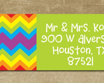 Rainbow Chevron Address Labels,  Personalized Chevron Return Address Labels, Mailing Labels, Rainbow Chevron Stickers, Whimsical Labels