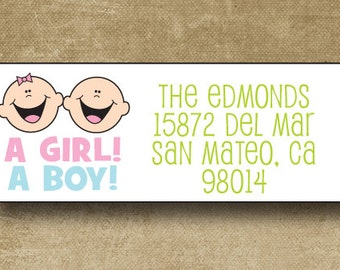 Twin Baby Announcement Address Labels, Personalized Address Labels, New Baby Address Labels, Custom Twin address, Return Labels Twins
