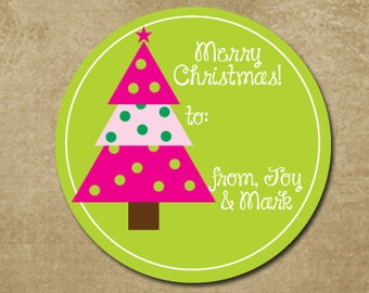 Holiday Gift Stickers, Christmas Tree Labels, Preppy Christmas Stickers, Personalized Holiday Gift Tags, Christmas Tags, Pink and Green