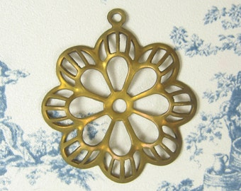Flower Filigree Pendant Earring Dangle Raw Brass 5-123-R