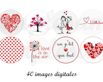 Digital collage sheet Valentine one inch circle, digital images heart red grey poetic  -  bottlecap,scrapbooking, instant download