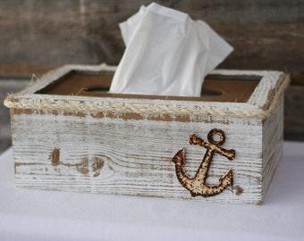 Tissue box cover holder rustic shabby chic beach nautical ocean theme bathroom decor made from - Beach themed tissue box cover ...