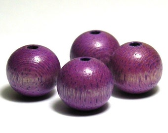 10x Round Wooden Beads 16 mm - Purple