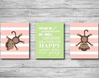 Baby Girl Nursery Wall Art - You Are My Sunshine Set of Three Monkey Print Set of Three Girl Stripes 11 x 14