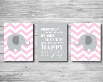 Baby Girl Nursery Wall Art - You Are My Sunshine Set of Three Elephant Print Set of Three Chevron 11 x 14