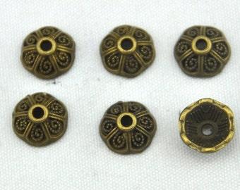 Wholesale 8mm Bronze Bead Caps ---80pcs Antique Bronze Flower End Caps Charms ,DIY Accessory Jewelry Making ---G818