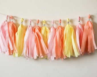 Spring Tassel Garland, Easter Garland, Easter Holiday Decor, Light Pink Peach Yellow Garland, Easter Baby Banner, Spring Baby Shower Decor