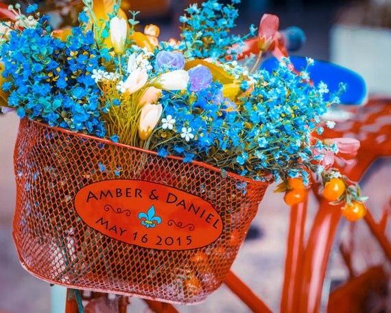 Personalized Wedding Gift, Bicycle Basket Flowers Vintage Customized ...