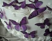 24 PURPLE MONARCH BUTTERFLIES 100% Edible Pre Cut Decorations Dress Cakes Cookies Cake Pops Garnish Wine Glasses Plates Dessert Tables