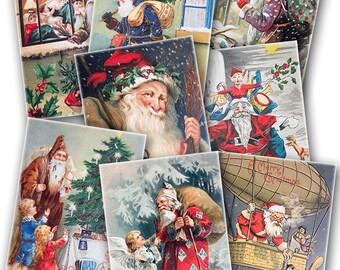 Santa Claus Xmas Cards ATC/ACEO 2.5x3.5-inch digital collage sheet 0168